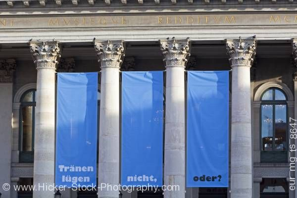 Stock photo of Columns entrance to Nationaltheater National Theatre Munich Germany