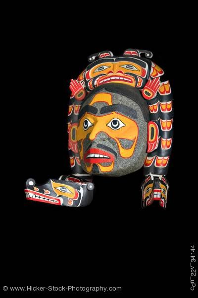 Stock photo of Sisutil and Warrior Mask Namgis First Nations Art Northern Vancouver Island British Columbia Canada