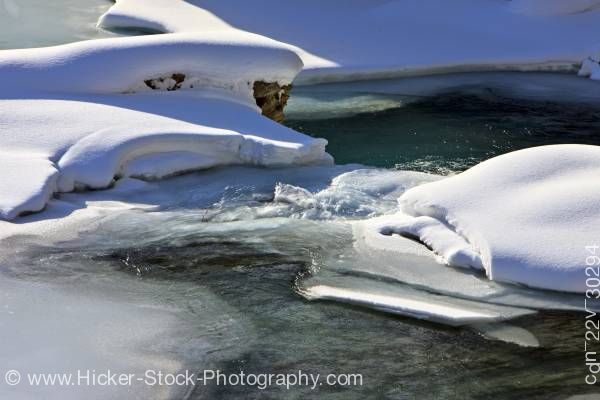 Stock photo of Snow and Ice Kicking Horse River Yoho National Park Canadian Rocky Mountains British Columbia Canada