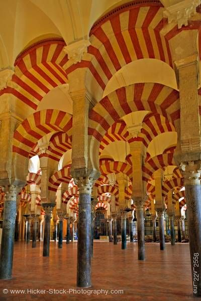 Stock photo of Naves of the Mezquita City of Cordoba Province of Cordoba Andalusia Spain