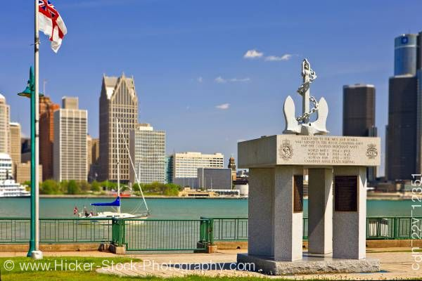 Stock photo of Navy memorial Dieppe Gardens skyline Detroit Michigan