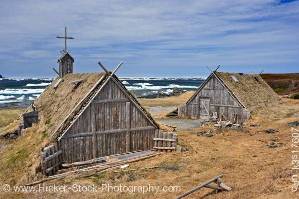 Stock photo of Huts Norstead Viking Site Great Northern Peninsula Newfoundland Canada