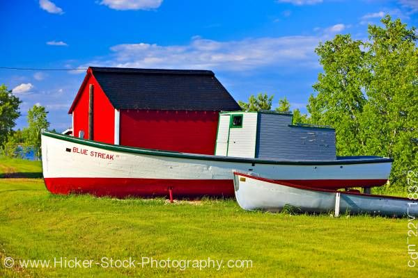 Stock photo of Old boats red shed Hecla Village Lake Winnipeg Hecla Island Manitoba Canada