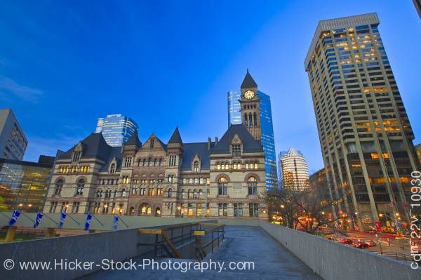 Stock photo of Old City Hall Building at Dusk Nathan Phillips Square Downtown Toronto Ontario Canada Blue Sky