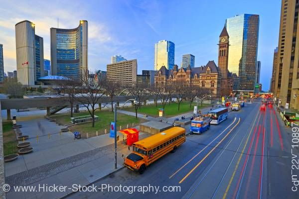 Stock photo of Old and New City Hall Buildings Nathan Phillips Square Downtown Toronto Ontario Canada
