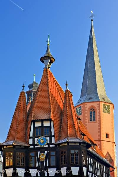 Stock photo of The Old Town Hall Rathaus in the historic village of Michelstadt Hessen Germany Europe