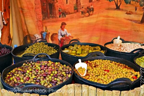 Stock photo of Olives market stall Plaza de la Corredera City of Cordoba Province of Cordoba Andalusia Spain