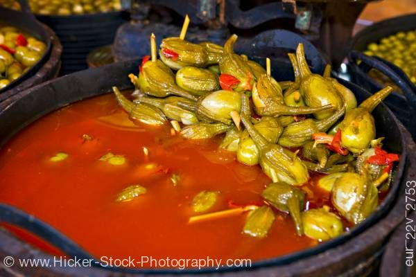 Stock photo of Olives market stall Plaza de la Corredera City of Cordoba Province of Cordoba Andalusia Spain Europe