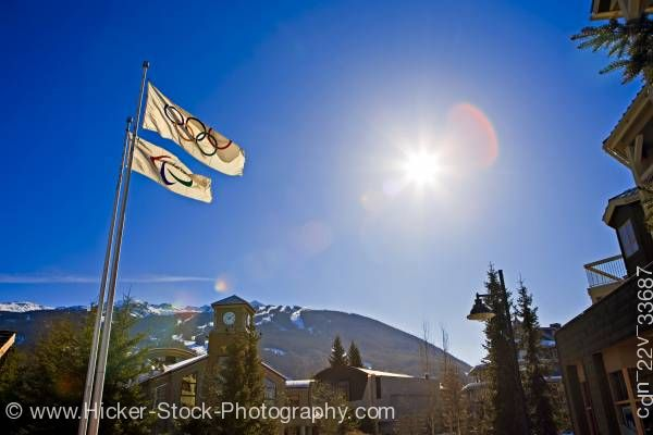 Stock photo of Olympic Flags 2010 Olympic Office Whistler Village Blackcomb Mountain British Columbia Canada