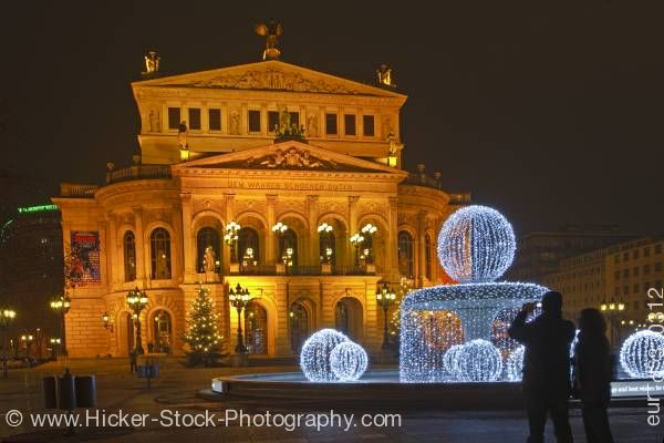 Stock photo of Old Opera House Alte Oper at night Frankfurt Hessen Germany Europe