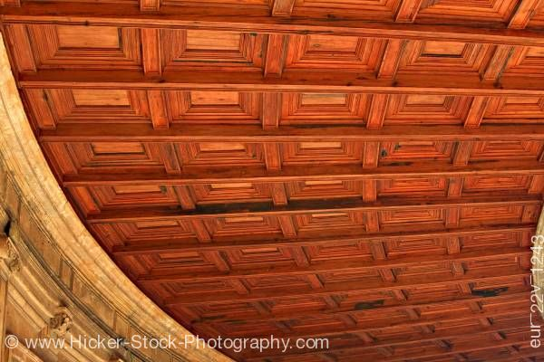 Stock photo of Wood ceiling of circular courtyard and double gallery of Palace of Charles V La Alhambra Granada