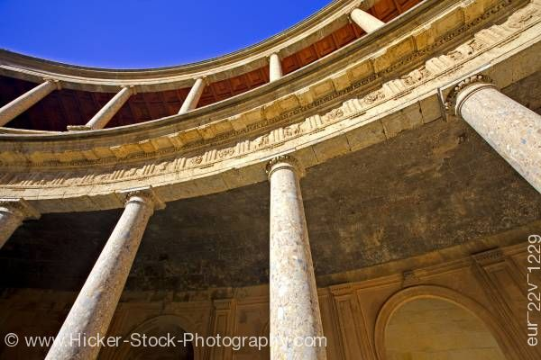 Stock photo of Columns in the courtyard Palace of Charles V City of Granada Province of Granada Andalusia