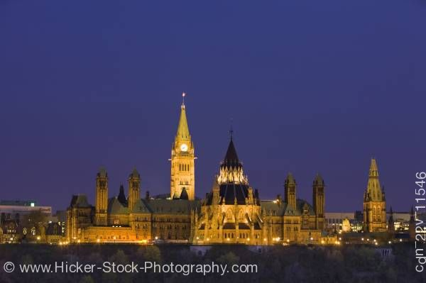 Stock photo of Parliament Hill Buildings in Ottawa at dusk