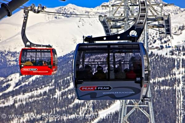 Stock photo of Peak 2 Peak Gondola Whistler Mountain Blackcomb Mountain British Columbia Canada