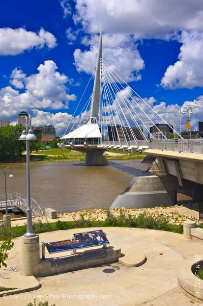 Stock photo of Esplanade Riel Bridge pedestrian Red River in the City of Winnipeg Manitoba Canada
