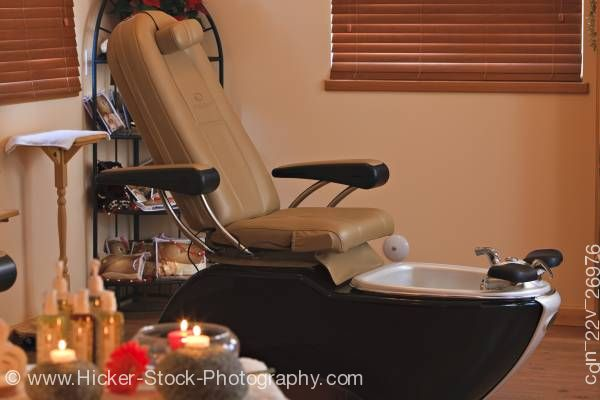 Stock photo of Pedicure spa chair Black Bear Resort & Spa Port McNeill Northern Vancouver Island Vancouver Canada