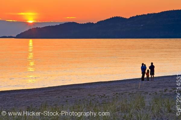 Stock photo of People on Beach Agawa Bay Sunset Lake Superior Provincial Park Ontario Canada