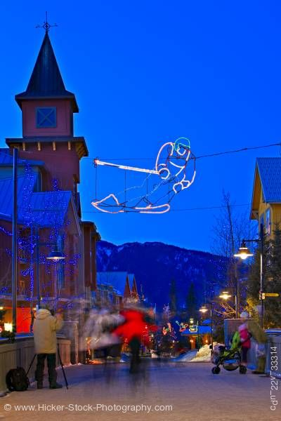 Stock photo of Decorative Lighting Pedestrian Activity Village Stroll Dusk Whistler Village British Columbia Canada