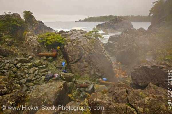 Stock photo of People bathing hot springs Hot Springs Cove Maquinna Marine provincial Park Vancouver Island