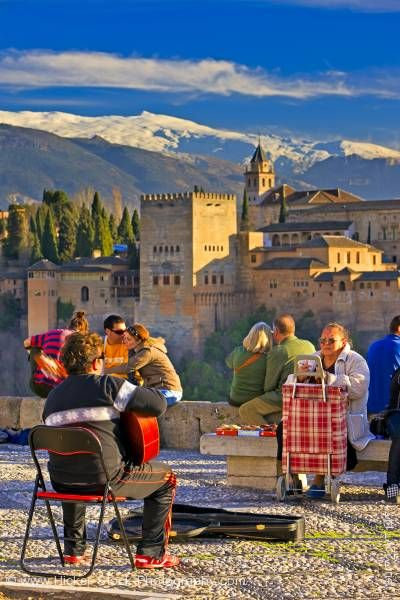Stock photo of People scenery Alhambra City of Granada Province of Granada Andalusia Spain Europe