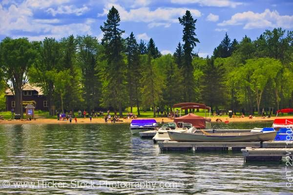 Stock photo of People Clear Lake in Wasagaming Riding Mountain National Park Manitoba Canada