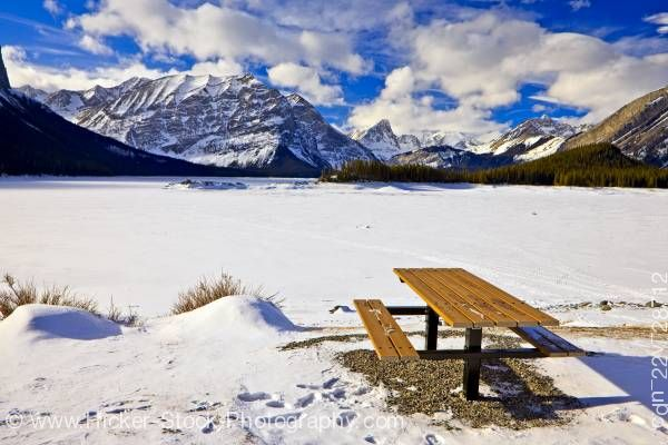 Stock photo of Picnic Table Winter Upper Kananaskis Lake Peter Lougheed Provincial Park Alberta Canada
