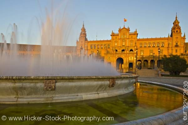 Stock photo of Central building and fountain Plaza de Espana Parque Maria Luisa City of Sevilla