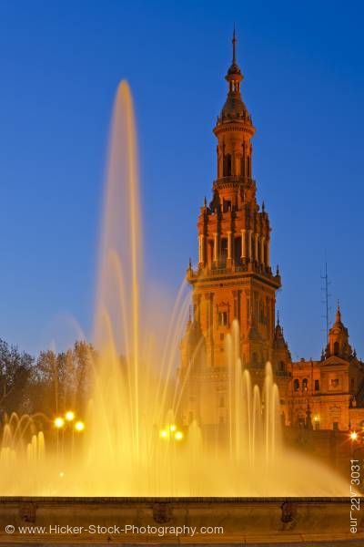 Stock photo of Tower and fountain at Plaza de Espana Parque Maria Luisa City of Sevilla Province of Sevilla
