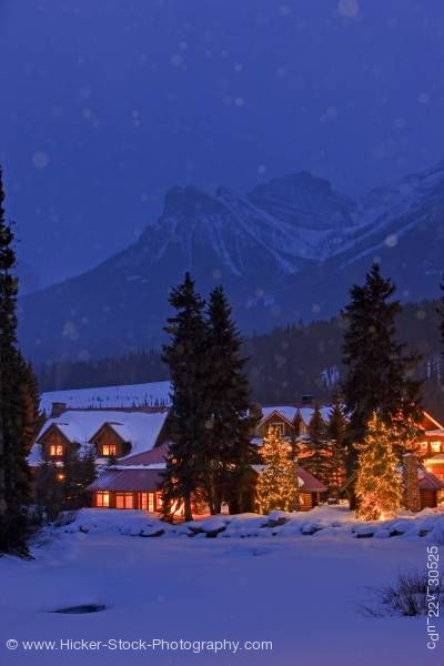 Stock photo of Post Hotel Winter Night Scene Pipestone River Lake Louise Banff National Park Canadian Rocky Mountai