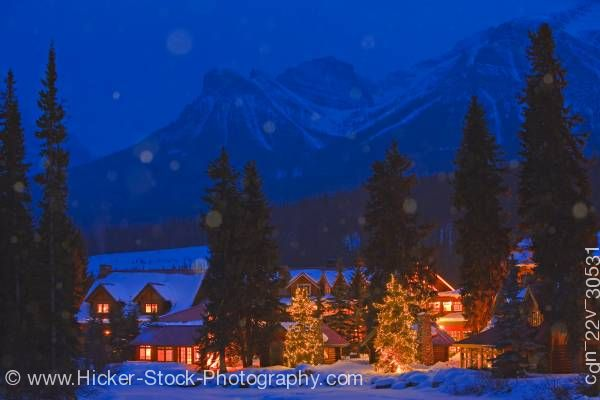 Stock photo of Nighttime Winter Scene Post Hotel Pipestone River Banff National Park Alberta Canada