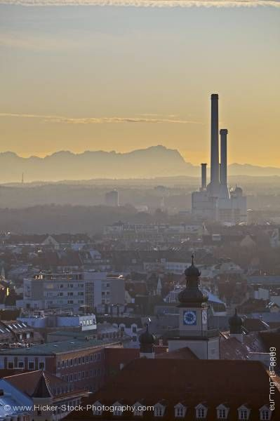 Stock photo of Industrial Power plant in City of MŸnchen (Munich) with Bavarian Alps in background Bavaria Germany