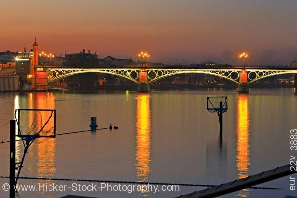 Stock photo of Puente de Isabel II Bridge City of Sevilla Province of Sevilla Andalusia Spain Europe