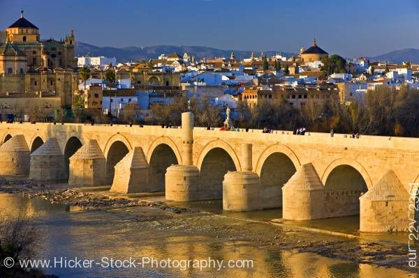 Stock photo of Puente Romano spans the Rio Guadalquivir in City of Cordoba Province of Cordoba Andalusia Spain