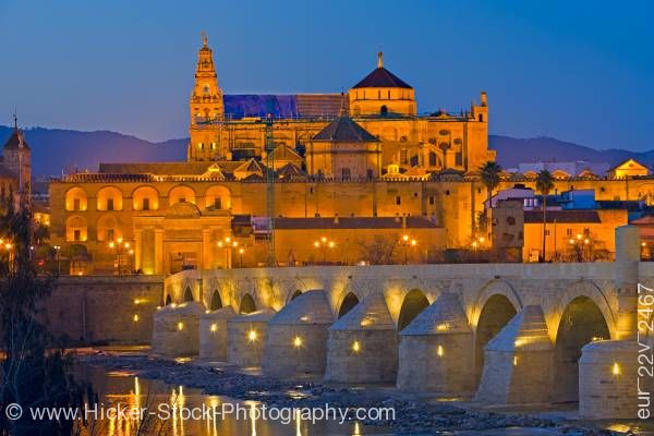 Stock photo of Puente Romano Bridge City of Cordoba UNESCO World Heritage Site Province of Cordoba Andalusia
