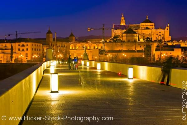 Stock photo of Bridge cathedral City of Cordoba UNESCO World Heritage Site Province of Cordoba Andalusia Spain