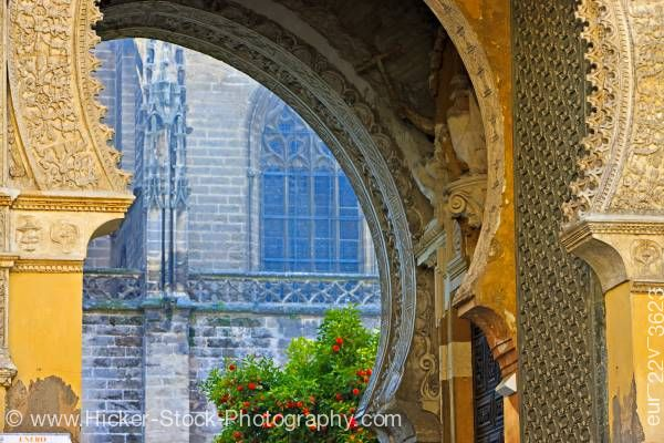 Stock photo of Architectural detail Puerta del Perdon Seville Cathedral Sevilla