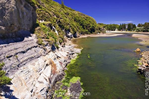 Stock photo of Small estuary at Puponga near Farewell Spit Tasman District South Island New Zealand