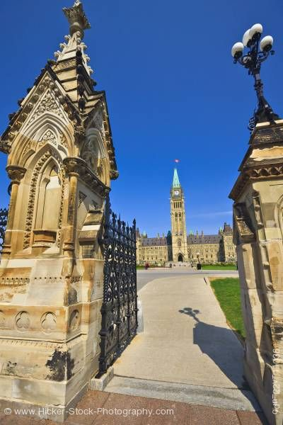 Stock photo of Queen's Gates Peace Tower Parliament Ottawa