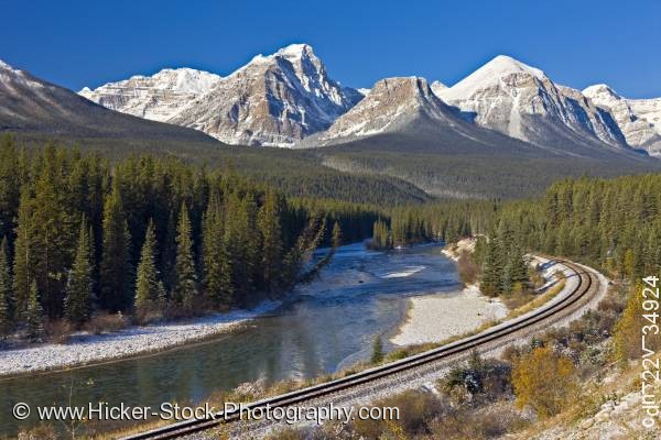 Stock photo of Railway tracks Morant's Curve Bow Valley Parkway Banff National Park