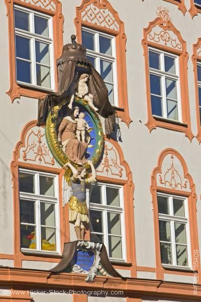 Stock photo of Religious motif on facade of building in Old Town district in City of Landshut Bavaria Germany