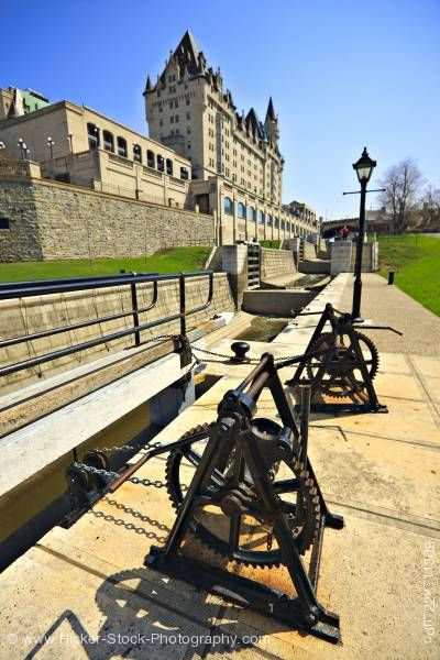 Stock photo of Rideau Canal and Locks National Historic Site and UNESCO World Heritage Site City of Ottawa Ontario