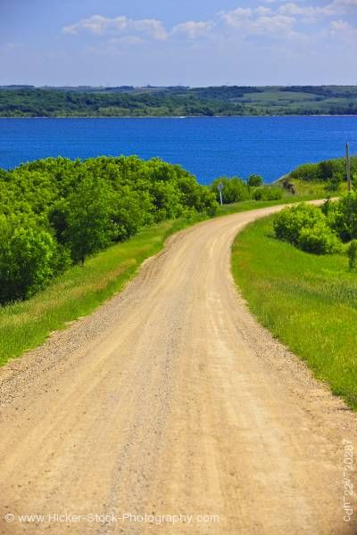 Stock photo of Road Pelican Pointe Last Mountain Lake Qu'Appelle Valley Saskatchewan