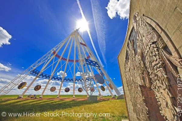 Stock photo of Saamis Tee pee the world's largest tee pee in the city of Medicine Hat Alberta Canada
