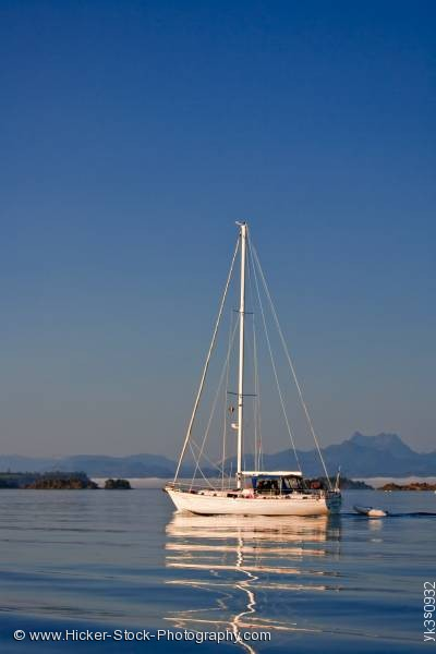 Stock photo of Sailboat no sails Johnstone Strait Mount Stephens