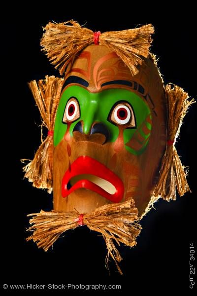 Stock photo of Mourning Mask Sandy Johnson First Nations Artist Northern Vancouver Island British Columbia Canada