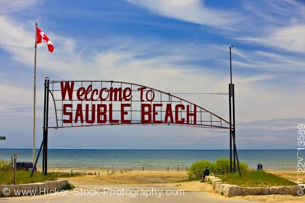 Stock photo of Sauble Beach welcome sign on the shores of Lake Huron Ontario Canada