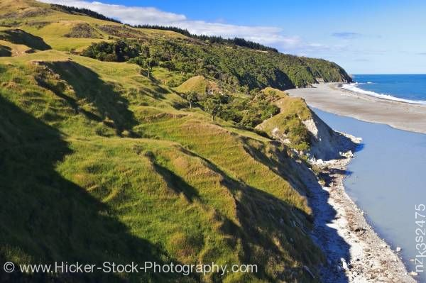 Stock photo of Scenic Shoreline Hurunui River Mouth East Coast New Zealand
