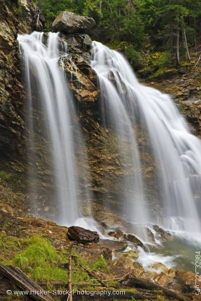 Stock photo of Scenic Rainbow Falls waterfall Monashee Provincial Park BC Canada