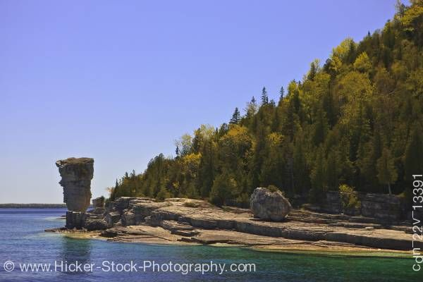 Stock photo of Sea Stack shoreline of Flowerpot Island in the Fathom Five National Marine Park Lake Huron Ontario