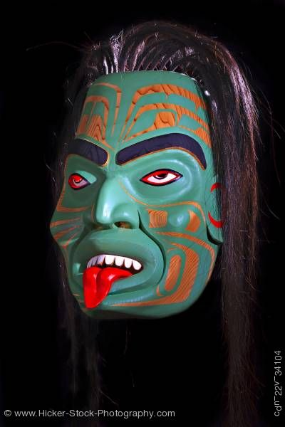 Stock photo of Otter Woman Mask Sean Whonnock Native American Art Vancouver Island British Columbia Canada